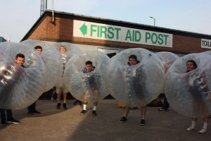 Students from the University of  Nottingham get in their bubbles