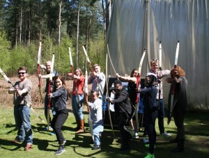 The cast of the Royal Shakespeare Company's production of A Midsummer Night's Dream at Adrenalin Jungle