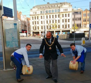 Rob & Webb Freckingham with The Lord Mayor of Nottingham - Cheese Riot