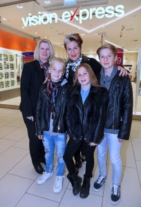 Vision Express Nottingham assistant store manager Rachel Smith with  Gemma Sheppard and her children