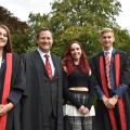Head girl and boy, Hannah Moore and Ted Phillips, with headmaster Tom Brooksby and Kate Oates