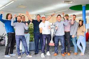 Rick Parfitt Celebrates with the VIA Team