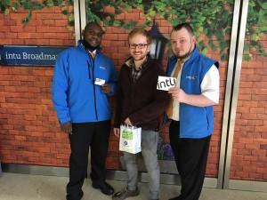 Shopper Adam Thomas with intu staff