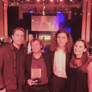 DHP Family (Dan Ealam, Anton Lockwood, Dan Roberts and Anwyn Williams pick up Dot to Dot Award_ Best Festival for Emerging Talent