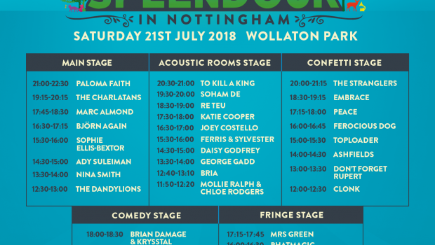 Share this content.... The long wait is over and with one week to go until Nottingham's biggest day out returns, stage times for the special 10th anniversary of Splendour have […]