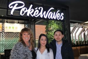 L-R Erin Vickers partner at Fraser Brown, Alicia Yilmaz paralegal at Fraser Brown & Kent Hau owner of Pokéwaves