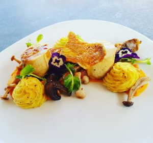 Butter Poached Chicken Ballotine, Sweet Potato Puree, wild Mushrooms and Red Wine Jus