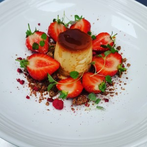 Classic Creme Caramel with Caramelised White Chocolate and Macerated Strawberries