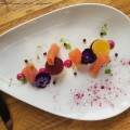 Smoked Salmon, chive and goats cheese mouse, pickled beetroot and balsamic