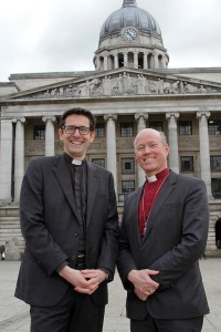 Bishop of Sherwood Andy Emerton and Bishop of Nottingham Paul Williams in Old Market Square, Nottingham