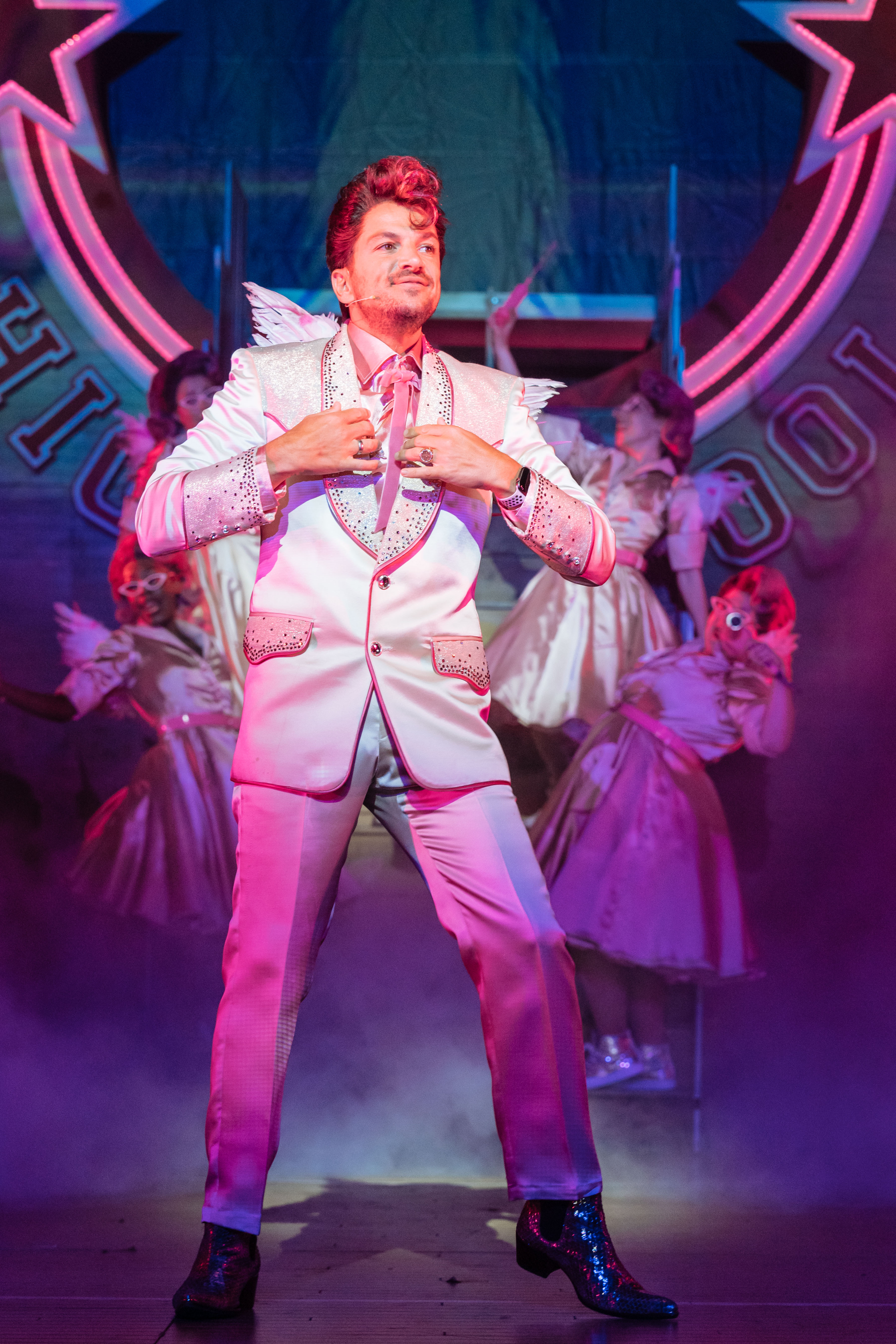 Peter Andre as Teen Angel in the UK and Ireland tour of GREASE, credit Manuel Harlan